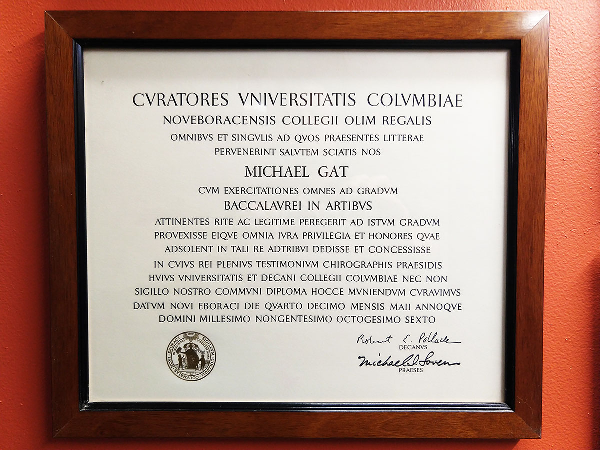 My Collumbia Degree. I can't read it either.